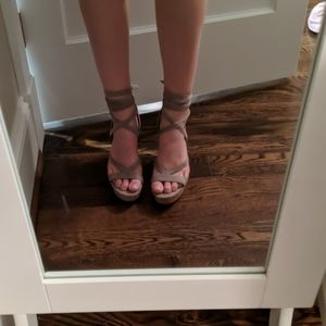 Guess Strappy Tie Up Wedges 7.5